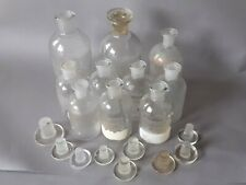 More details for 10 x vintage etched apothecary pharmacy chemist bottles with stoppers