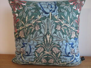 Liberty William Morris Honeysuckle Cotton & Blue Velvet Fabric Cushion Cover Art