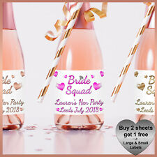 Personalised BRIDE SQUAD Hen Party CHAMPAGNE / WINE Prosecco LABELS Small Bottle