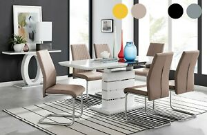 RENATO White Grey Gloss Extending Dining Table Set & 6 8 Dining Chairs