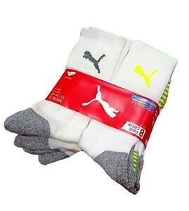 PUMA Men's Sports Style Crew Socks Mesh Ventilation Size 6-8 / 9-11 (8 Pairs)