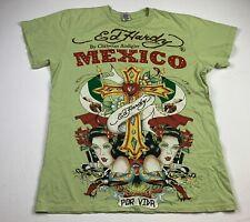 Rare Christian Audigier Mexico Por Vida Green Sz. Large Ed Hardy