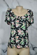 Chaps Black Multicolor Floral 100% Cotton Top Medium Short Flared Sleeves Ruffle