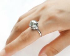 Gray Genuine Tahitian Cultured Pearl Ring 925 Sterling Silver Adjustable 10.8mm