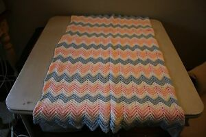 Handmade Crocheted Baby Afghan Mini Crib Blanket Blue/White/Pink