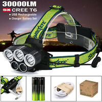 30000LM 5X XML T6 LED Headlamp USB Rechargeable 18650 Headlight Head Torch