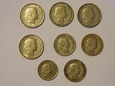 SWITZERLAND 1882-1942 5, 10, 20 RAPPEN COPPER/NICKEL 8-COINS FREE FAST SHIP!!!