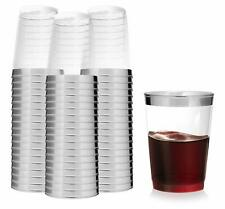 10 Oz (100 Pack) Silver Rimmed Clear Plastic Tumblers Fancy Disposable Cups