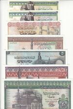EGYPT 25 50 PT 1 5 10 20 EGP 1971 1978 P-42 43 44 45 46 47 48 SET OF7 LOT EF/XF