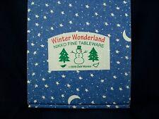 "Vintage Nikko Winter Wonderland 8"" Salad Plates Set of 4 Scenes NEW in BOX"