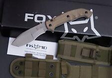 """Fox Trakker Meskwaki Folding Knife 5.3"""" N690Co Steel Blade Green Micarta Handle"""