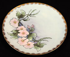 Jaeger & Co HP signed & dated 1916 Cabinet plate pink flowers gold trim Bavaria