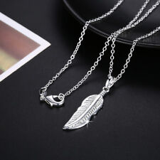 Lovely Wholesale 925 Sterling Silver Filled Feather Pendant Charm Necklace
