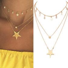 Charm Women Boho Gold Star Tassel Pendant Chain Choker Bib Necklace Jewelry Gift
