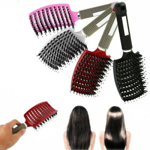 Women Soft Bristle Nylon Hair Brush Scalp Massage Comb Curly Detangle Salon RD
