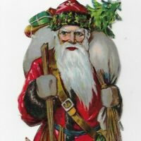 VICTORIAN EUROPEAN RED SANTA, WOOD STICK, DOLLS TOYS Antique Die-cut Scrap, 9""