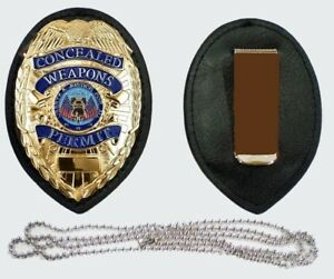 BADGE CLIP + NECK CHAIN HOLDER CONCEALED CARRY PERMIT CCW - NO BADGE