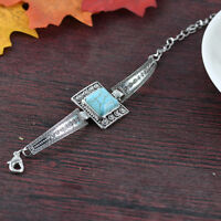 Fashion Jewelry Vintage Retro Turquoise Bracelet Bangle Bohemian Silver Plated J