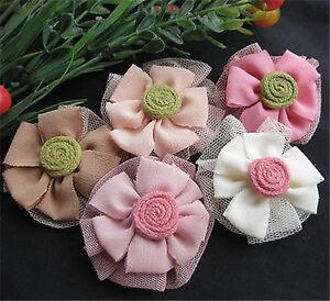 Ribbon Flowers Bows Wedding Sewing Decor Crafts Appliques Upick 20pcs RR005