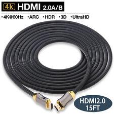 Flexible Nylon Cable, 15FT HDMI 2.0 Cable, Full HD, 60HZ HDTV, 4K 3D, HDCP 2.2