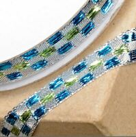 NEW SILVER & TURQUOISE LUREX CHECKED PATTERNED RIBBON 10mm x 10M craft gift wrap