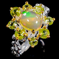 Flower Art Design Jewelry Natural Opal Gemstone Sterling Silver Ring / RVS322