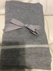 West Elm  Belgian Flax Linen Queen Flat Sheet Border Stripe Slate Gray NWOT