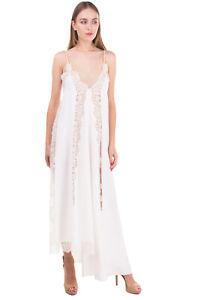 RRP €1775 STELLA MCCARTNEY Silk Asymmetric Hem Dress Size 40 / XS Lace Inserts