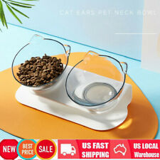Double Bowl Cat Pet Puppy Raised Feeder Food Water White Stand + 2 Clear Dish Us