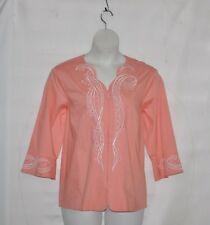 Bob Mackie Swirl & Daisy Embroidered Zip Front Blouse Size 1X Coral