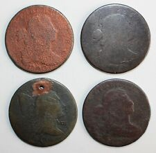 4 Early US Large Cent Cull Coins Dateless Liberty Cap Draped Bust Copper 1c US