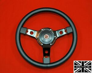 """14"""" Leather Steering Wheel-Black Spokes & Hub. Fits MGB GT 1976 and later"""