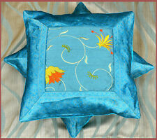 Set of two turquoise silk flower embroidered hand made brocade pillow cover!