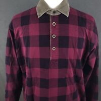 Eddie Bauer Plaid Rugby Style Heavy Polo Shirt Men's Size Large Outdoor Camping