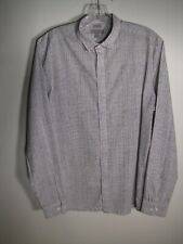COS Men's White & Black Polka Dot Hidden Buttons Cotton Slim Fit Shirt Size 15.5
