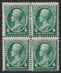 "US # 211 *UNUSED NG H* { ""SCARCE BLOCK OF 4 } BEAUTY 4c JACKSON BANKNOTE OF 1883"