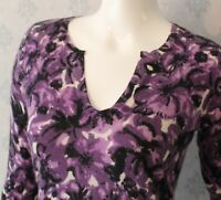 Women's Purple, Black and Ivory Floral Sutton Cashmere Long Sleeve Sweater Small