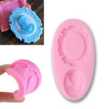 Oval Vintage Frame Women Head Geam Silicone Mold Fondant Sugarcraft Decor Tool