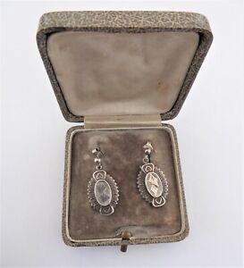 Antique Victorian Boxed Ivy Leaf Silver Earrings HM Birm 1881 George Loveridge