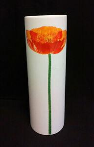 Retro Cylinder Shaped White & Orange Flower Amano German Vase  27cm Tall