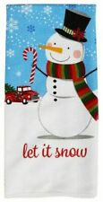 """Set of 2 """"Let It Snow"""" Kitchen Towels Snowman & Red Truck Nwt 15"""" X 25"""""""