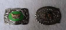 TWO METAL MENS BELT BUCKLES HORSE IN HORSESHOE COVERED WAGON #43