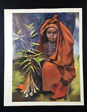 "1966 New Guinea Full Color Art Plate ""GIRL SELLING GINGER PLANT"" McIntyre Litho"
