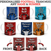 PERSONALISED FOOTBALL Team Club MUG Cup Fan Supporter Birthday Valentines Gift