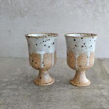 2 Vintage Jack Hope Thrumster Village Pottery Small Goblets 150mls NSW Australia