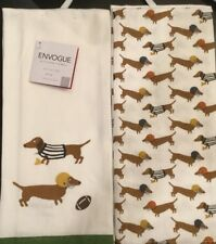 Set Of 2 Football Dog Puppy Sports Pets Kitchen Dish Bar Tea Towels Cloth