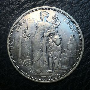 Belgium, 5 Francs 1880 coin, Silver, only 6714 minted! Ex-jewelry