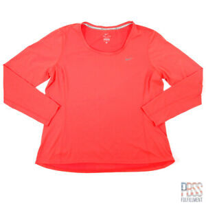 Nike Dri-Fit Womens XL Long Sleeve Polyester Running Shirt Regular Fit Orange