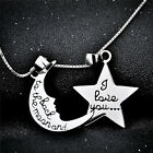 """925 Sterling Silver Star Moon Letter Pendant Charms Love Necklace 18"""" Box Chain"""