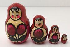 4 Russian Matryoshka Wooden Nesting Dolls Hand Painted Tulip Flowers Tiny Doll